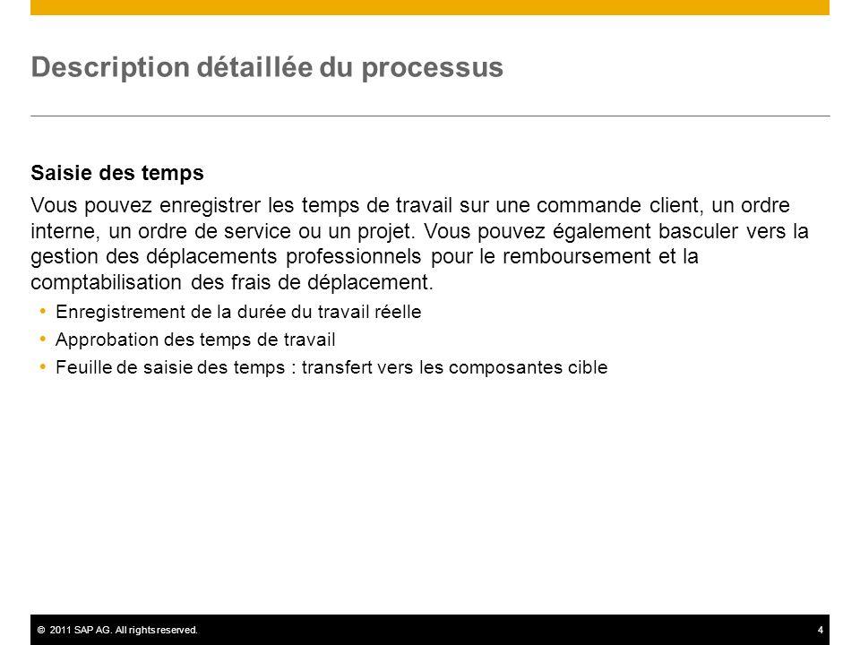 ©2011 SAP AG. All rights reserved.4 Description détaillée du processus Saisie des temps Vous pouvez enregistrer les temps de travail sur une commande
