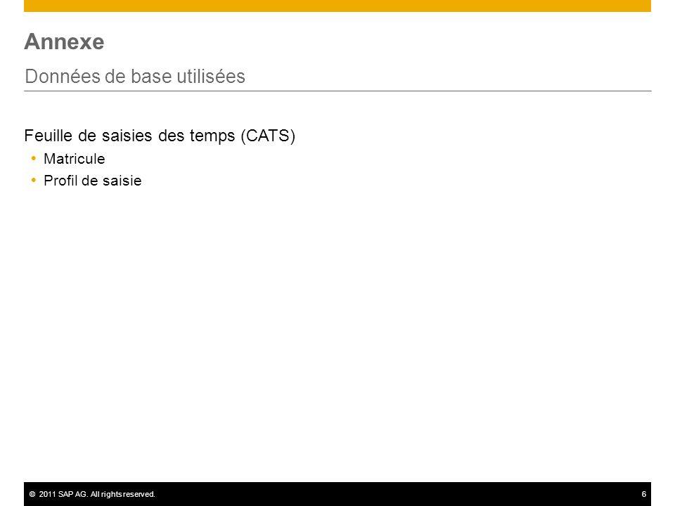©2011 SAP AG. All rights reserved.6 Annexe Données de base utilisées Feuille de saisies des temps (CATS) Matricule Profil de saisie