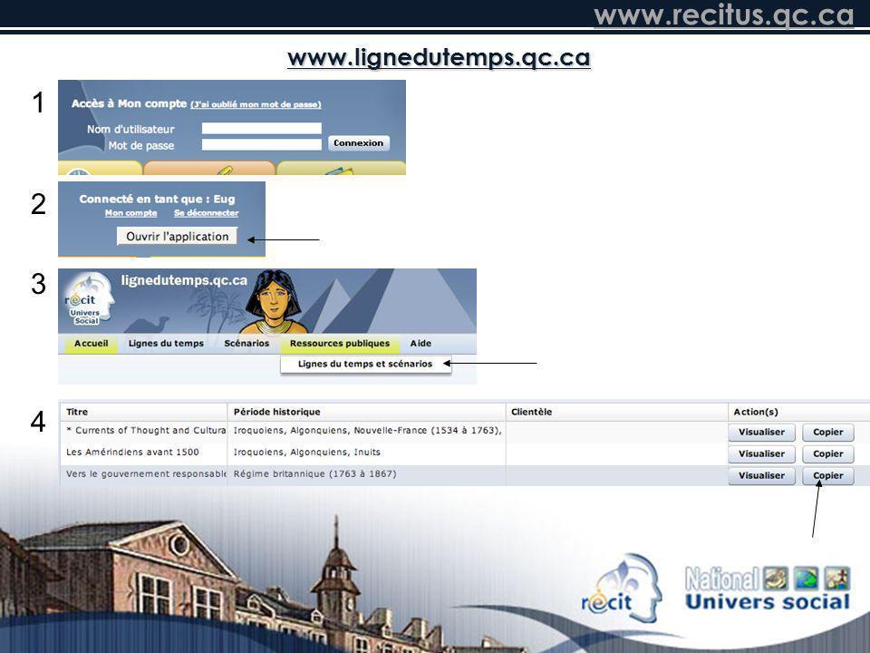 www.recitus.qc.ca www.lignedutemps.qc.ca 1 4 3 2