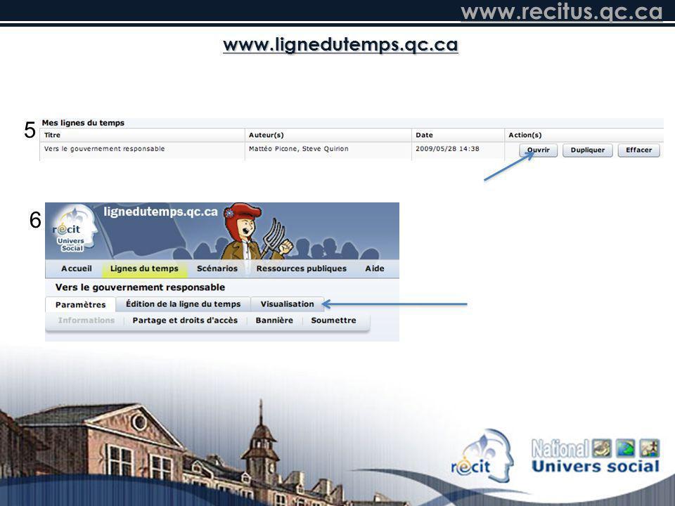 www.lignedutemps.qc.ca 5 6