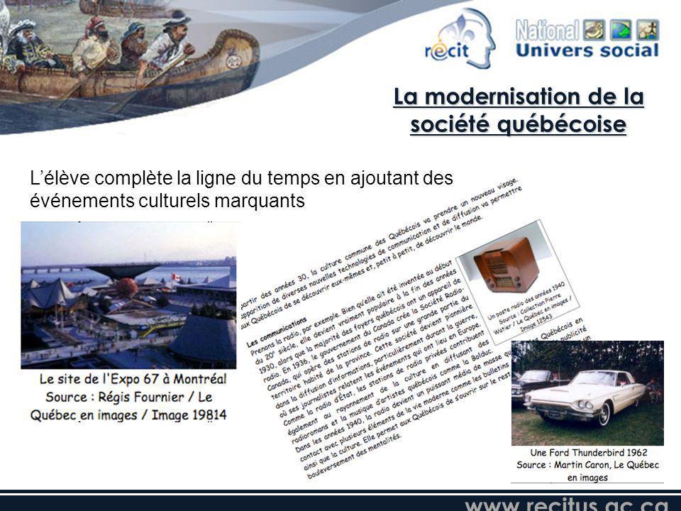www.recitus.qc.ca Lélève complète la ligne du temps en ajoutant des événements culturels marquants La modernisation de la société québécoise