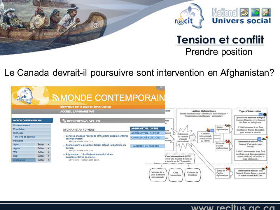 www.recitus.qc.ca Le Canada devrait-il poursuivre sont intervention en Afghanistan? Tension et conflit Prendre position