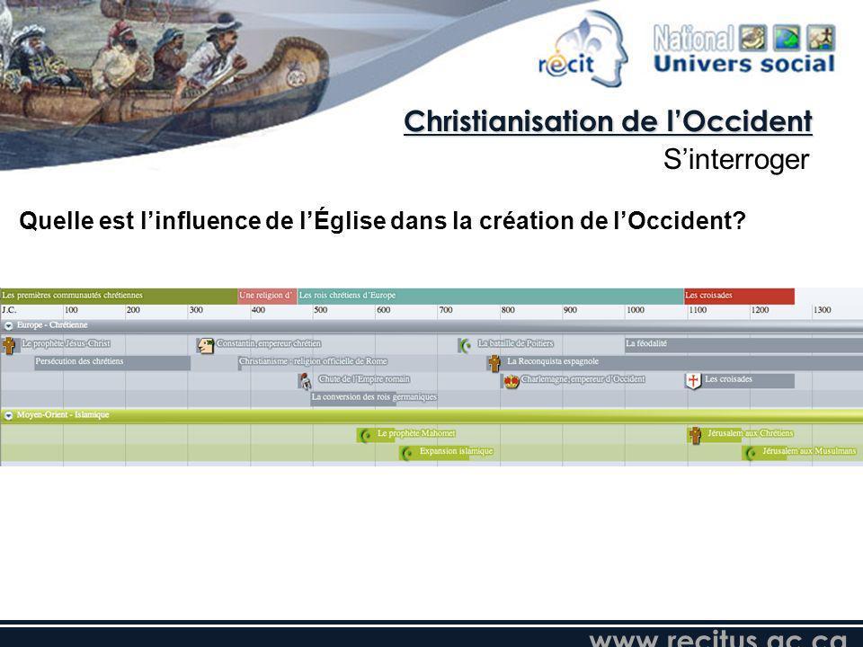 www.recitus.qc.ca Quelle est linfluence de lÉglise dans la création de lOccident? Christianisation de lOccident Sinterroger