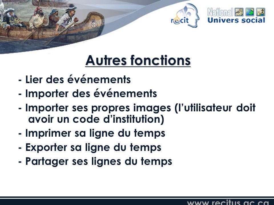 www.recitus.qc.ca Autres fonctions - Lier des événements - Importer des événements - Importer ses propres images (lutilisateur doit avoir un code dins