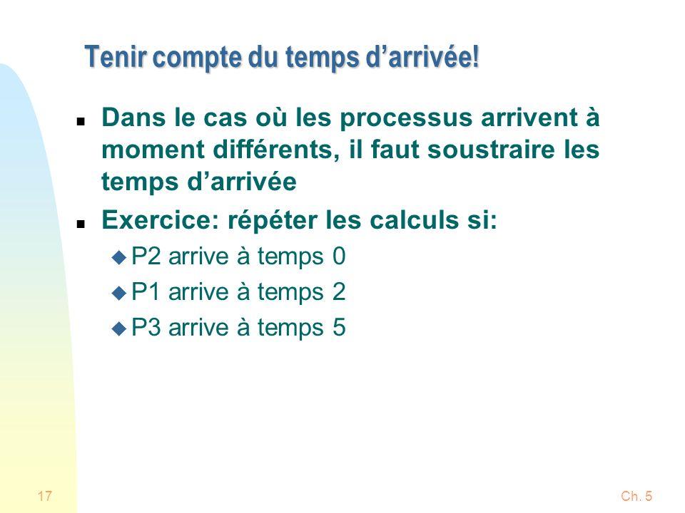 Ch. 517 Tenir compte du temps darrivée! n Dans le cas où les processus arrivent à moment différents, il faut soustraire les temps darrivée n Exercice: