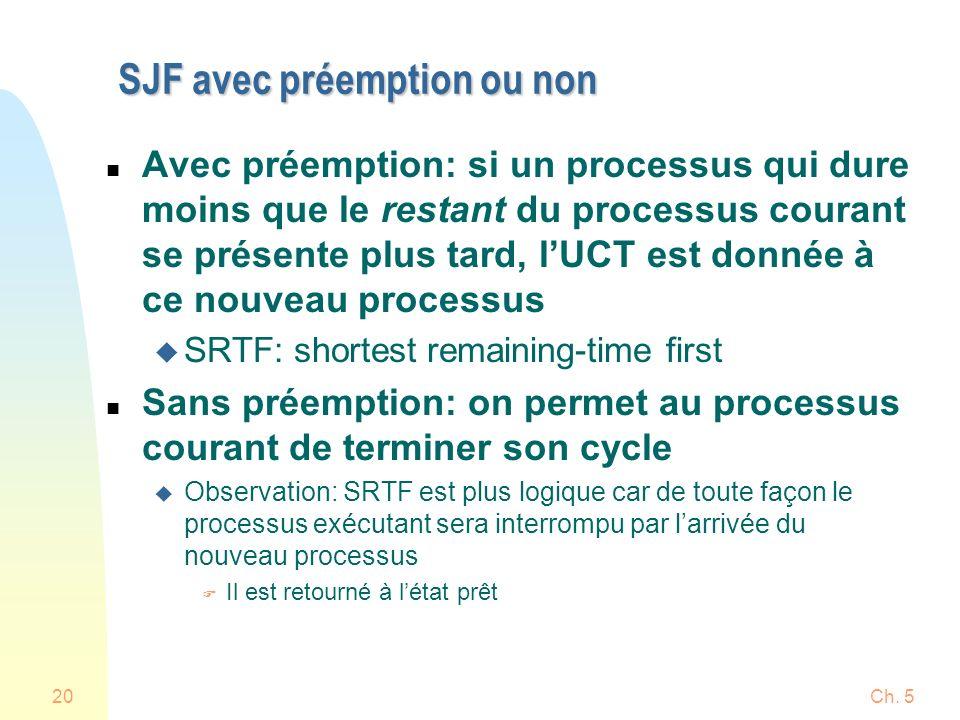 Ch. 520 SJF avec préemption ou non n Avec préemption: si un processus qui dure moins que le restant du processus courant se présente plus tard, lUCT e