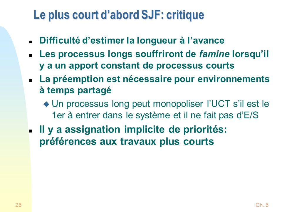 Ch. 525 Le plus court dabord SJF: critique n Difficulté destimer la longueur à lavance n Les processus longs souffriront de famine lorsquil y a un app