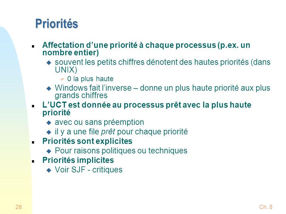 Ch. 526 Priorités n Affectation dune priorité à chaque processus (p.ex. un nombre entier) u souvent les petits chiffres dénotent des hautes priorités