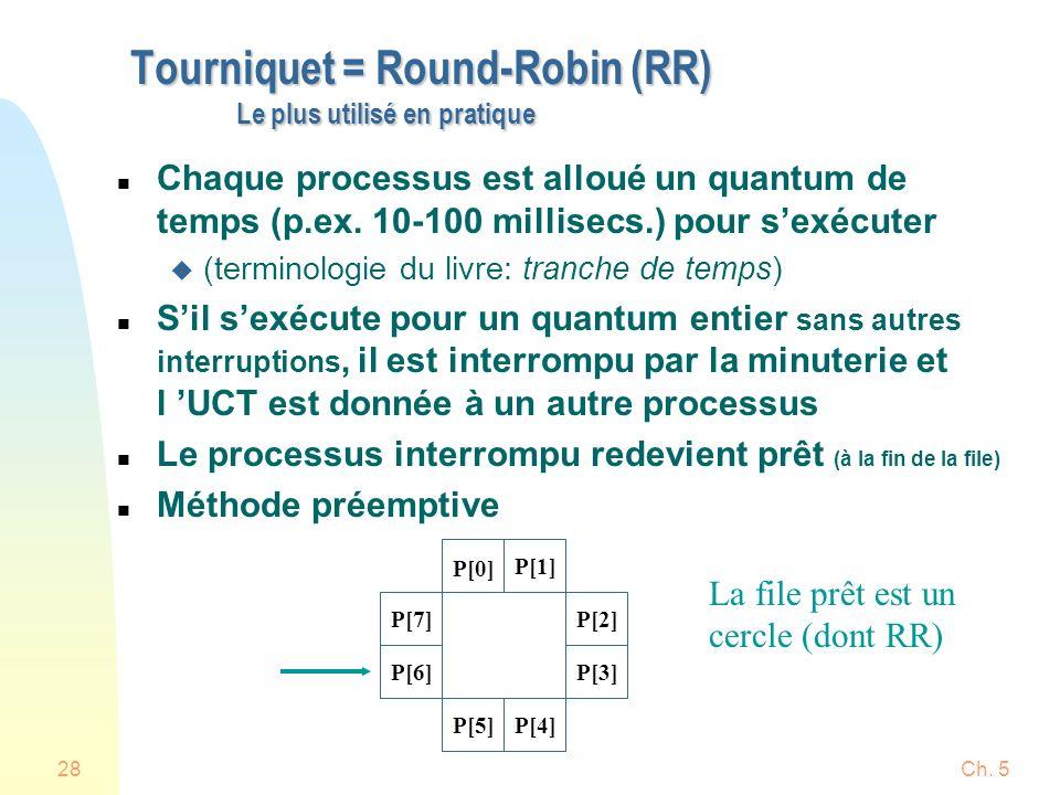 Ch. 528 Tourniquet = Round-Robin (RR) Le plus utilisé en pratique n Chaque processus est alloué un quantum de temps (p.ex. 10-100 millisecs.) pour sex