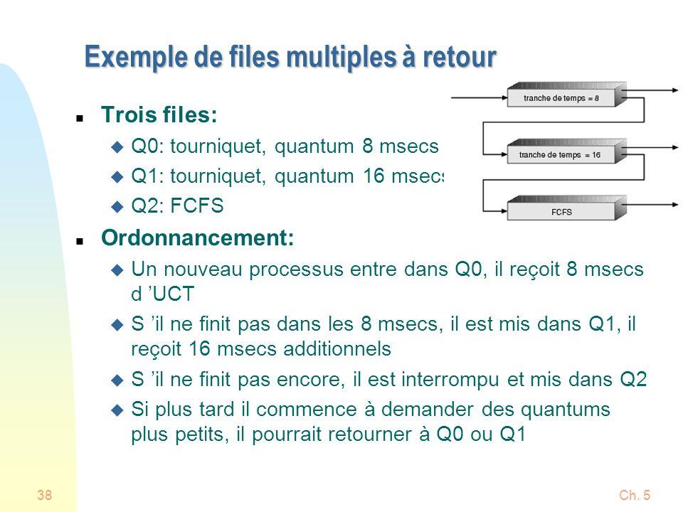 Ch. 538 Exemple de files multiples à retour n Trois files: u Q0: tourniquet, quantum 8 msecs u Q1: tourniquet, quantum 16 msecs u Q2: FCFS n Ordonnanc