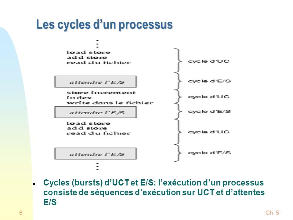 Ch. 56 Les cycles dun processus n Cycles (bursts) dUCT et E/S: lexécution dun processus consiste de séquences dexécution sur UCT et dattentes E/S