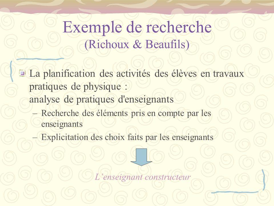 Exemple de recherche (Richoux & Beaufils) La planification des activités des élèves en travaux pratiques de physique : analyse de pratiques d'enseigna