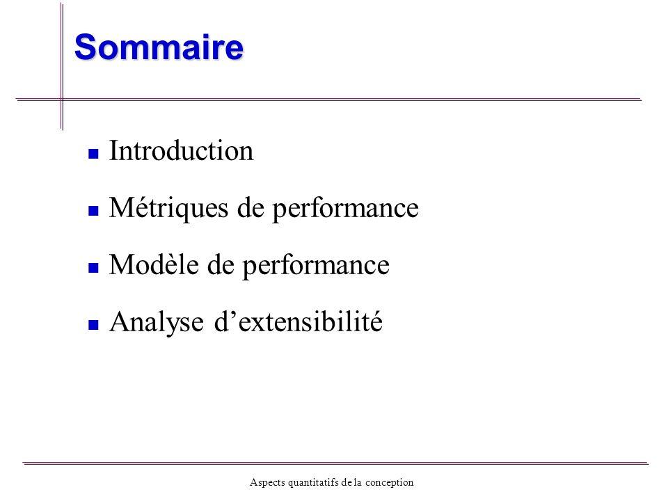 Aspects quantitatifs de la conception Autres paramètres des performance Effet de larchitecture - - Cross-bar - - Bus - - Structure maillé Entrée/Sortie: - - Disque - - Numérique-analogique (applications temps réels) - - Écran