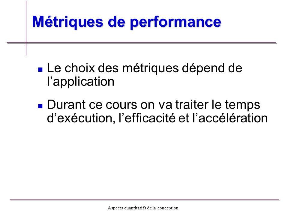 Aspects quantitatifs de la conception Métriques de performance Le choix des métriques dépend de lapplication Durant ce cours on va traiter le temps de