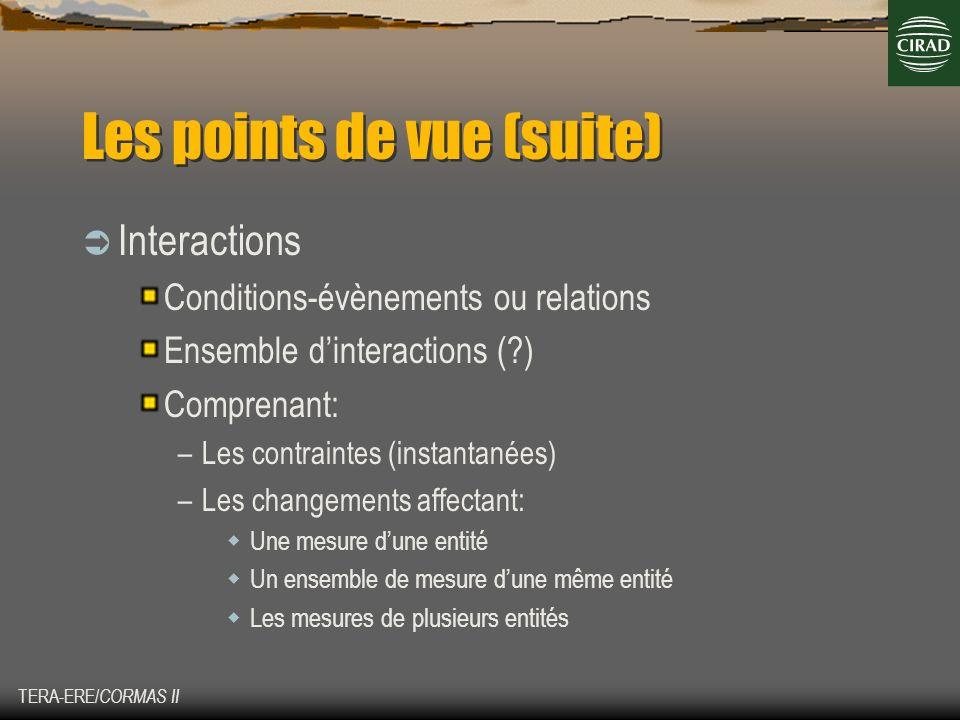 TERA-ERE/ CORMAS II Les points de vue (suite) Interactions Conditions-évènements ou relations Ensemble dinteractions (?) Comprenant: –Les contraintes