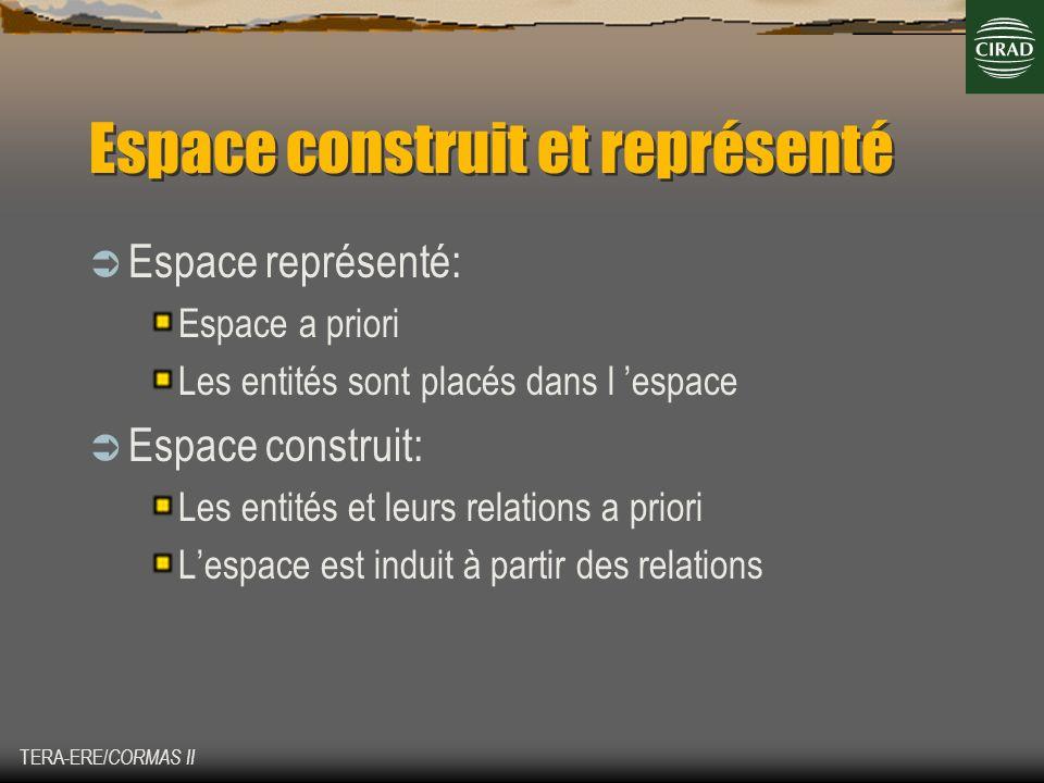 TERA-ERE/ CORMAS II Espace construit et représenté Espace représenté: Espace a priori Les entités sont placés dans l espace Espace construit: Les enti