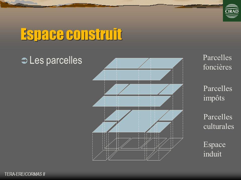 TERA-ERE/ CORMAS II Espace construit Les parcelles Parcelles foncières Parcelles culturales Parcelles impôts Espace induit