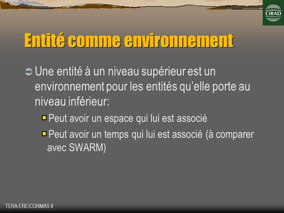TERA-ERE/ CORMAS II Entité comme environnement Une entité à un niveau supérieur est un environnement pour les entités quelle porte au niveau inférieur