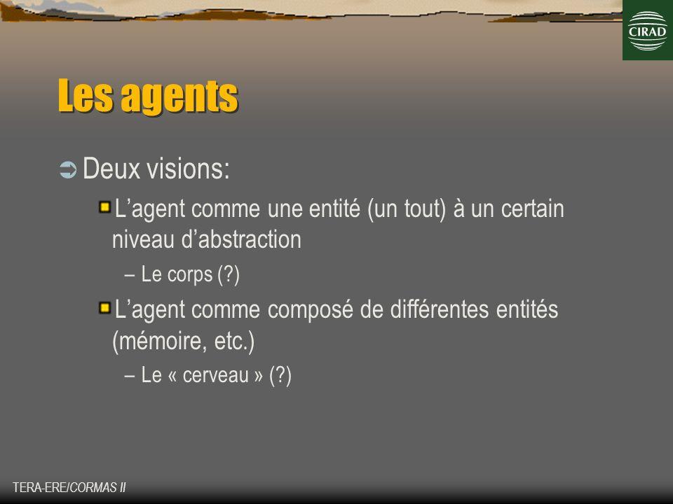 TERA-ERE/ CORMAS II Les agents Deux visions: Lagent comme une entité (un tout) à un certain niveau dabstraction –Le corps (?) Lagent comme composé de