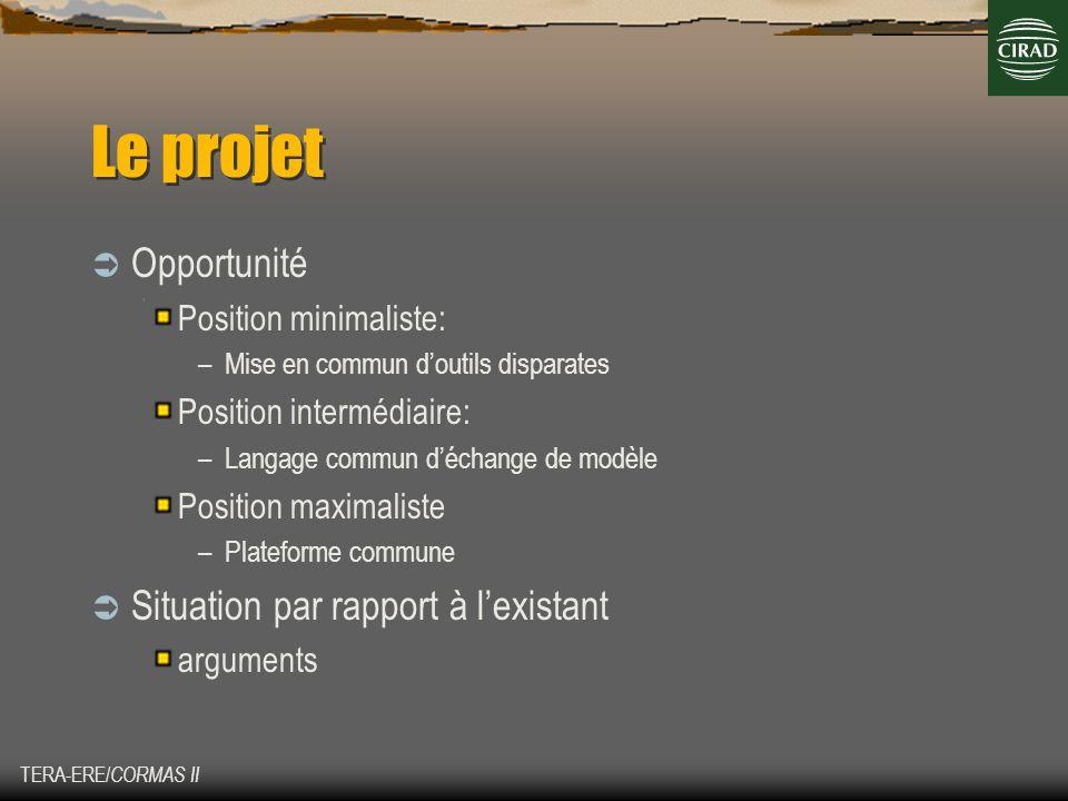 TERA-ERE/ CORMAS II Le projet Opportunité Position minimaliste: –Mise en commun doutils disparates Position intermédiaire: –Langage commun déchange de