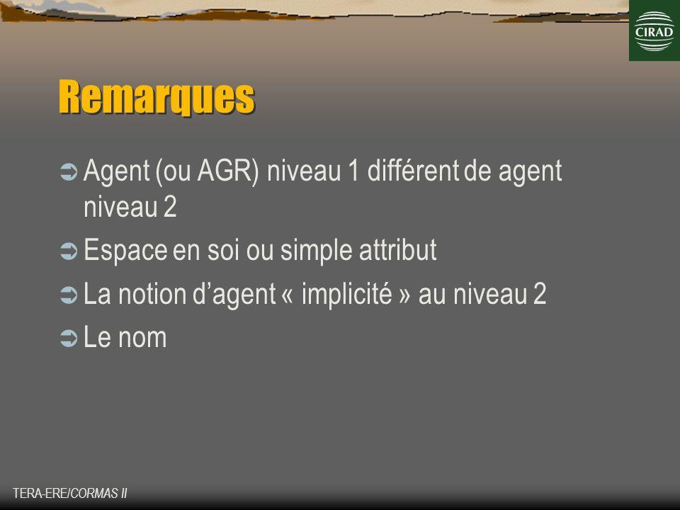 TERA-ERE/ CORMAS II Remarques Agent (ou AGR) niveau 1 différent de agent niveau 2 Espace en soi ou simple attribut La notion dagent « implicité » au n