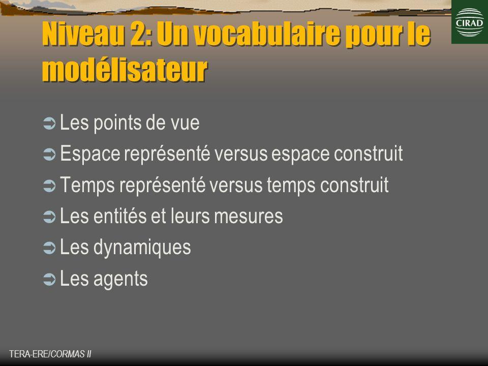 TERA-ERE/ CORMAS II Niveau 2: Un vocabulaire pour le modélisateur Les points de vue Espace représenté versus espace construit Temps représenté versus