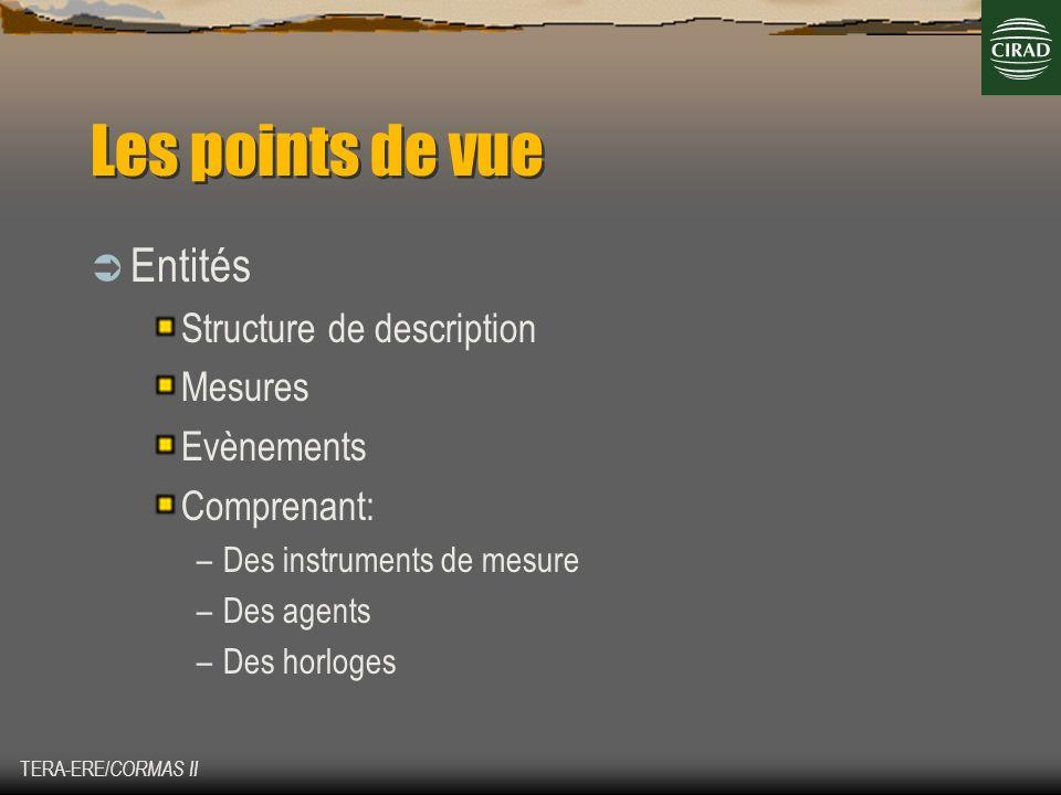 TERA-ERE/ CORMAS II Les points de vue (suite) Interactions Conditions-évènements ou relations Ensemble dinteractions (?) Comprenant: –Les contraintes (instantanées) –Les changements affectant: Une mesure dune entité Un ensemble de mesure dune même entité Les mesures de plusieurs entités