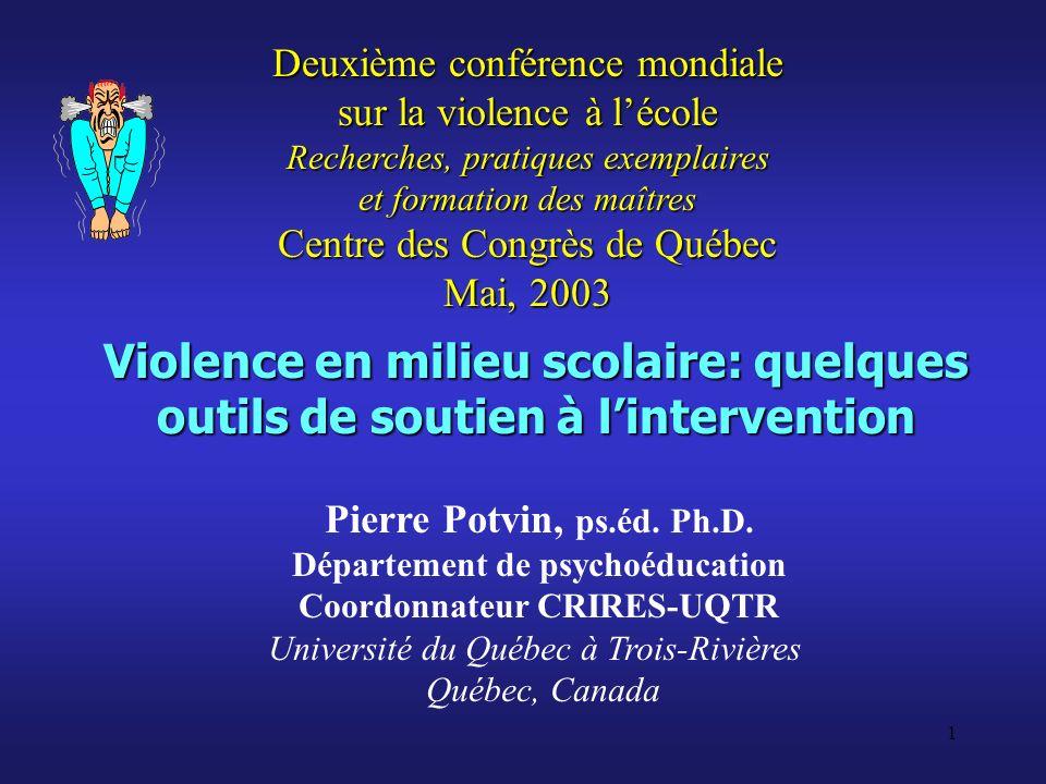 1 Violence en milieu scolaire: quelques outils de soutien à lintervention Pierre Potvin, ps.éd. Ph.D. Département de psychoéducation Coordonnateur CRI