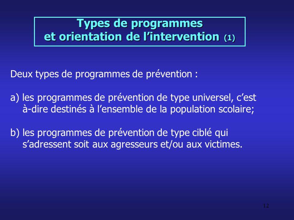 12 Types de programmes et orientation de lintervention (1) Deux types de programmes de prévention : a) les programmes de prévention de type universel,