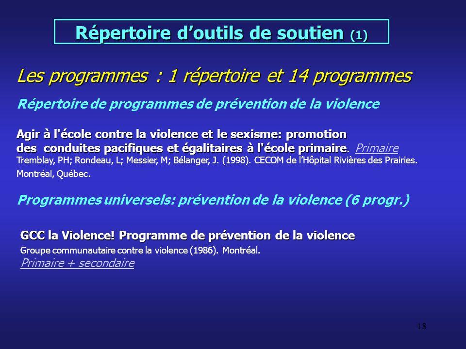18 Les programmes : 1 répertoire et 14 programmes Répertoire doutils de soutien (1) Répertoire de programmes de prévention de la violence Agir à l'éco