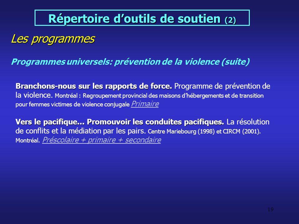 19 Les programmes Répertoire doutils de soutien (2) Programmes universels: prévention de la violence (suite) Branchons-nous sur les rapports de force.