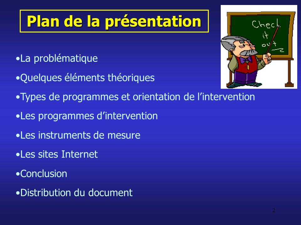 2 Plan de la présentation La problématique Quelques éléments théoriques Types de programmes et orientation de lintervention Les programmes dinterventi
