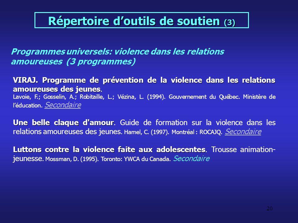 20 VIRAJ. Programme de prévention de la violence dans les relations amoureuses des jeunes VIRAJ. Programme de prévention de la violence dans les relat