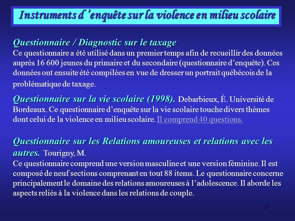 23 Instruments d enquête sur la violence en milieu scolaire Questionnaire / Diagnostic sur le taxage Questionnaire / Diagnostic sur le taxage Ce quest