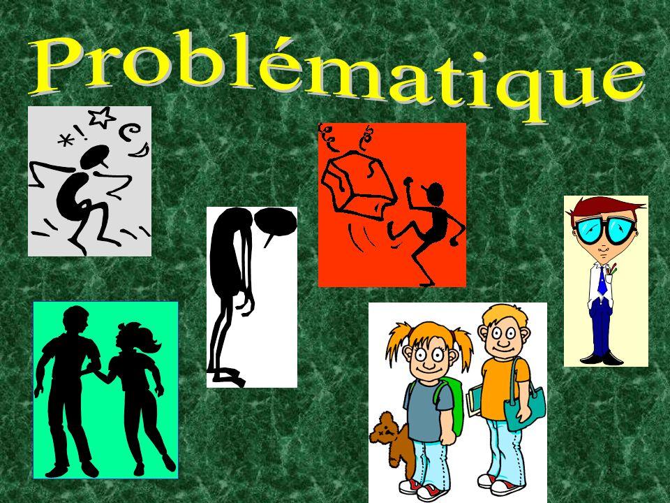 4 Problématique (1) Des études menées en Amérique du Nord indiquent que 10% à 25% des élèves connaîtraient durant leur cheminement scolaire des problèmes liés aux multiples formes de violence (physique, verbale ou psychologique).