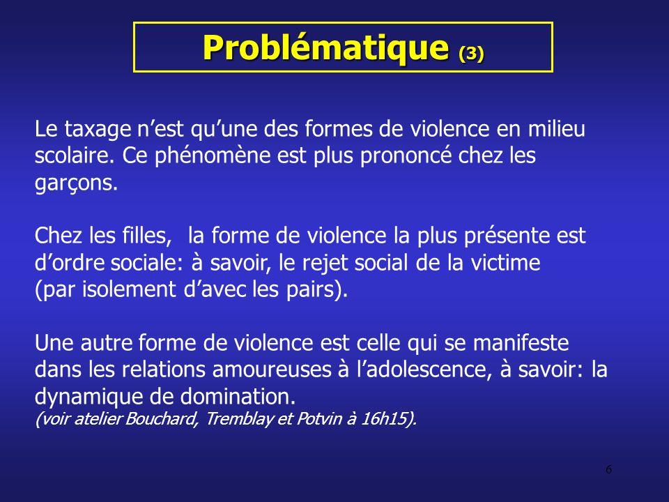 6 Problématique (3) Le taxage nest quune des formes de violence en milieu scolaire. Ce phénomène est plus prononcé chez les garçons. Chez les filles,