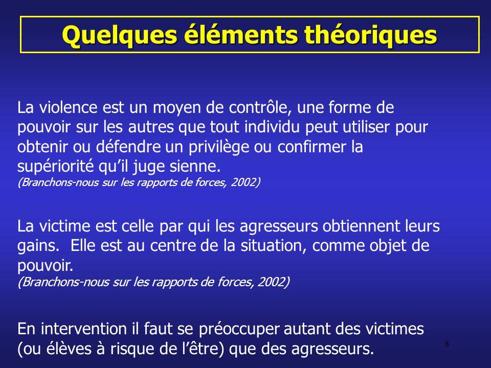 8 Quelques éléments théoriques La violence est un moyen de contrôle, une forme de pouvoir sur les autres que tout individu peut utiliser pour obtenir