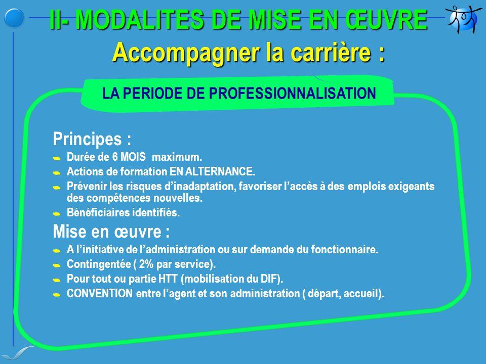 II- MODALITES DE MISE EN ŒUVRE Accompagner la carrière : Principes : Durée de 6 MOIS maximum.