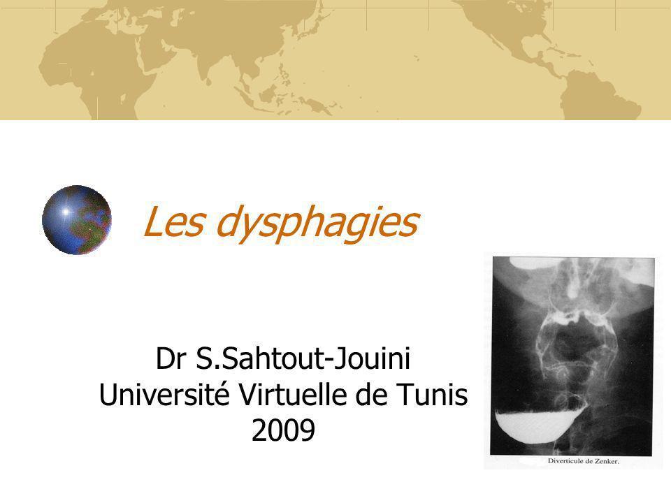 Les dysphagies Dr S.Sahtout-Jouini Université Virtuelle de Tunis 2009