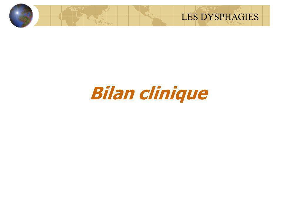 Bilan clinique LES DYSPHAGIES