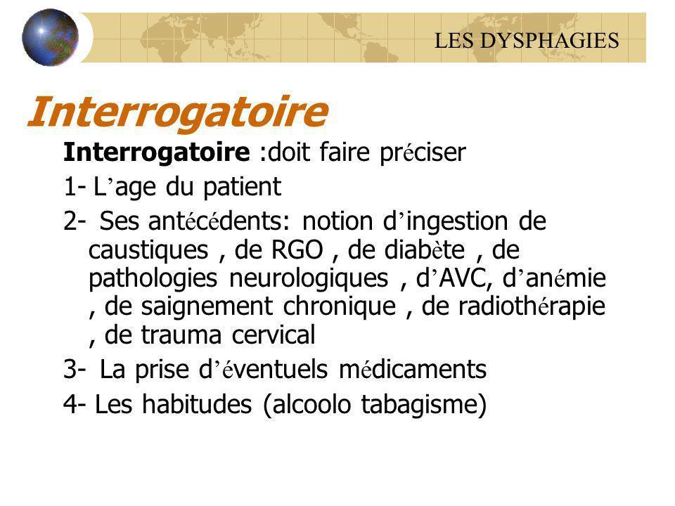 Interrogatoire Interrogatoire :doit faire pr é ciser 1- L age du patient 2- Ses ant é c é dents: notion d ingestion de caustiques, de RGO, de diab è t