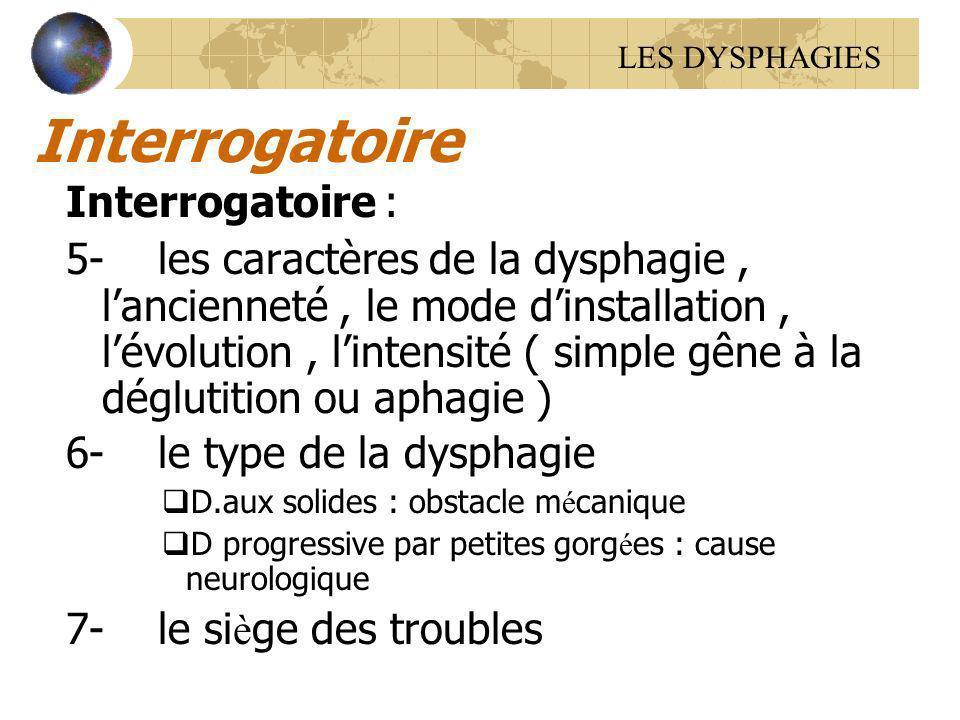 Interrogatoire Interrogatoire : 5- les caractères de la dysphagie, lancienneté, le mode dinstallation, lévolution, lintensité ( simple gêne à la déglu