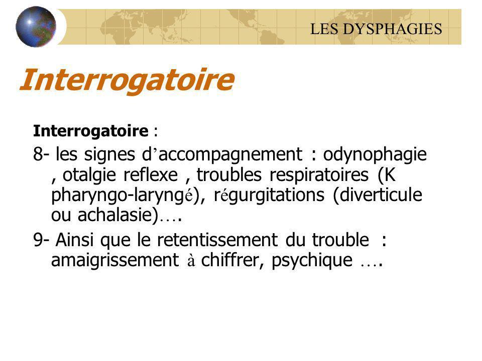 Interrogatoire Interrogatoire : 8- les signes d accompagnement : odynophagie, otalgie reflexe, troubles respiratoires (K pharyngo-laryng é ), r é gurg