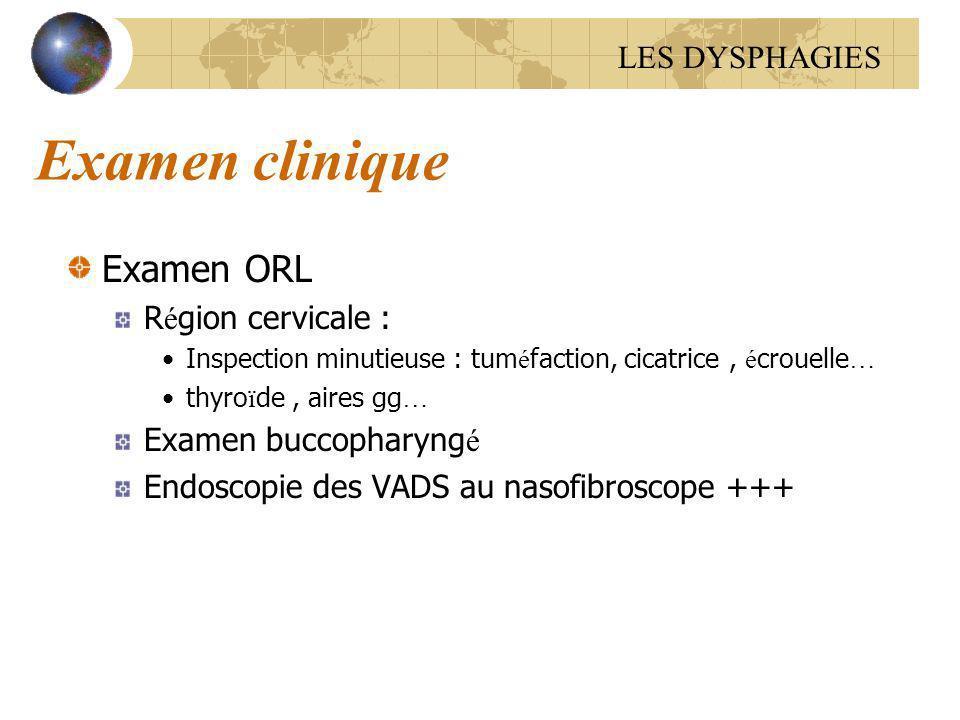 Examen clinique Examen ORL R é gion cervicale : Inspection minutieuse : tum é faction, cicatrice, é crouelle … thyro ï de, aires gg … Examen buccophar