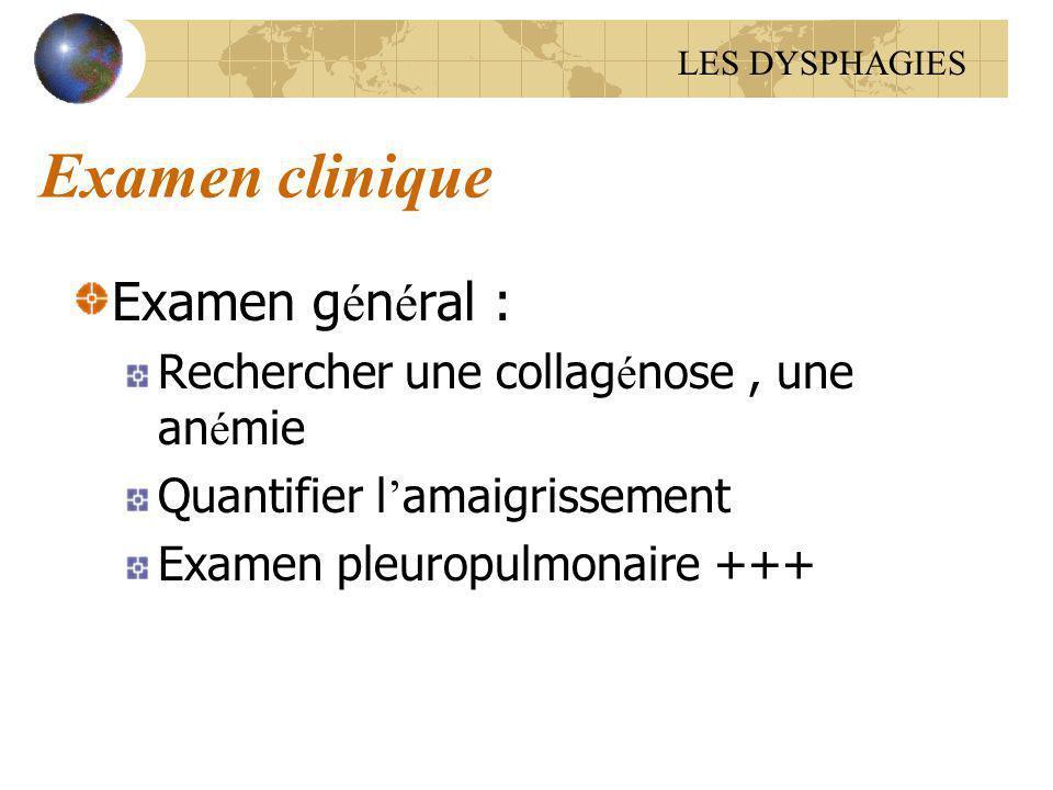 Examen clinique Examen g é n é ral : Rechercher une collag é nose, une an é mie Quantifier l amaigrissement Examen pleuropulmonaire +++ LES DYSPHAGIES