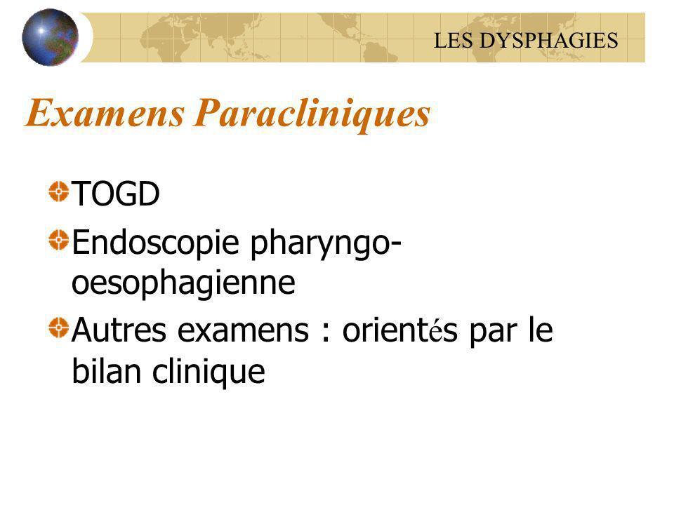 Examens Paracliniques TOGD Endoscopie pharyngo- oesophagienne Autres examens : orient é s par le bilan clinique LES DYSPHAGIES