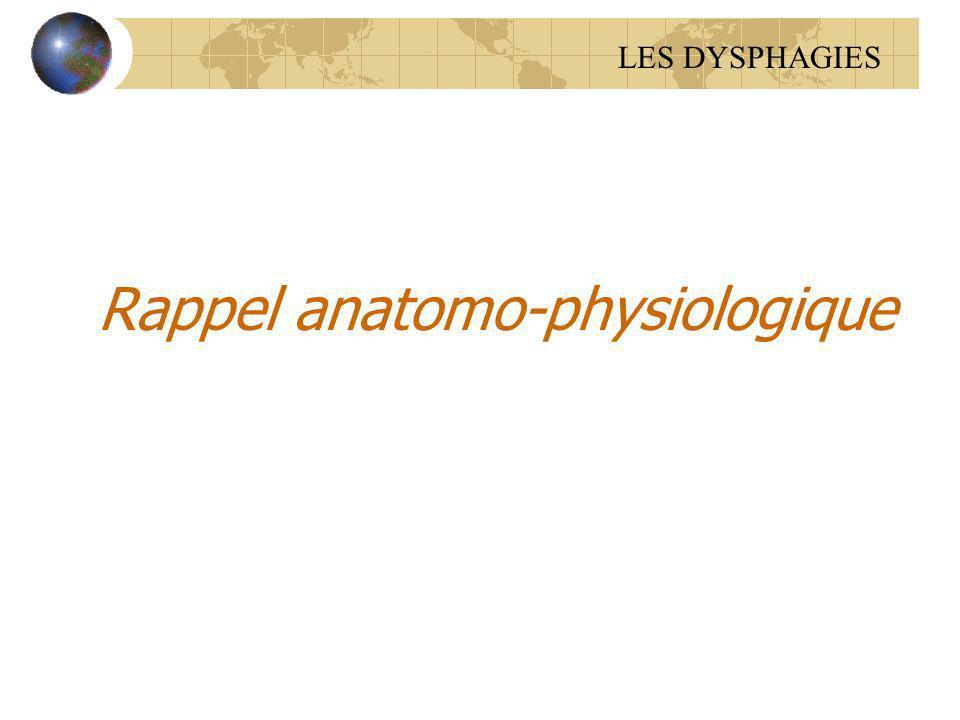 Rappel anatomo-physiologique LES DYSPHAGIES