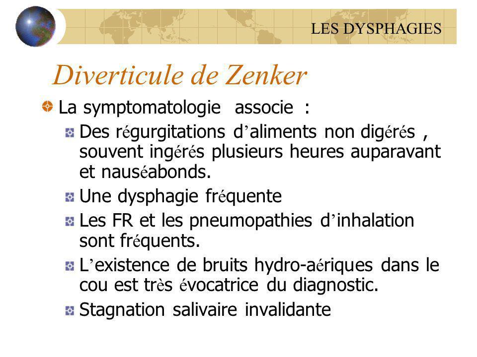 Diverticule de Zenker La symptomatologie associe : Des r é gurgitations d aliments non dig é r é s, souvent ing é r é s plusieurs heures auparavant et