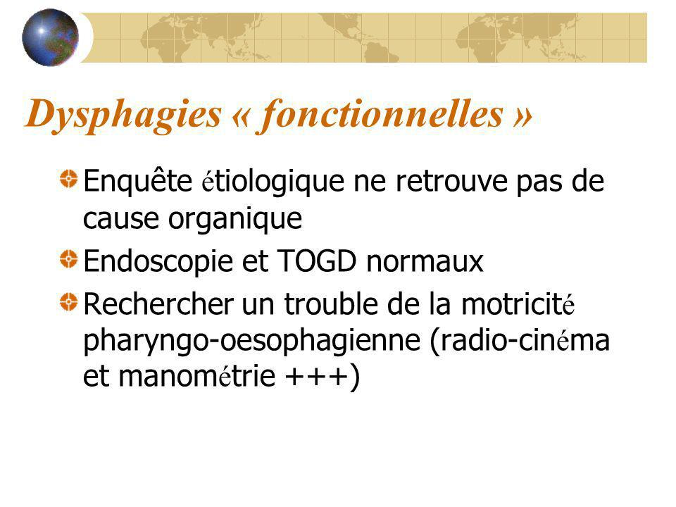 Dysphagies « fonctionnelles » Enquête é tiologique ne retrouve pas de cause organique Endoscopie et TOGD normaux Rechercher un trouble de la motricit