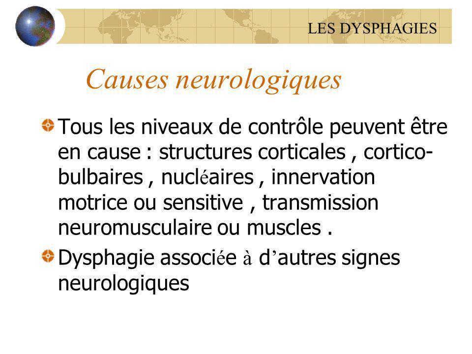 Causes neurologiques Tous les niveaux de contrôle peuvent être en cause : structures corticales, cortico- bulbaires, nucl é aires, innervation motrice